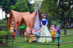 The Snow White and Seven Dwarfs at the exhibition in Taman Mini Indonesia Indah, Jakarta. royalty free stock images