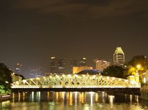 Anderson bridge over Singapore river Royalty Free Stock Images