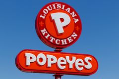 Anderson - Circa April 2018: Popeyes Louisiana Kitchen Fast Food Restaurant. Popeyes is known for its Cajun Style Fried Chicken I royalty free stock image