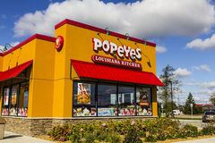 Anderson - Circa October 2016: Popeyes Louisiana Kitchen Fast Food Restaurant. Popeyes is known for Cajun Style Fried Chicken III Royalty Free Stock Images
