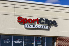Anderson - Circa October 2016: Sport Clips Strip Mall Haircut Location. SportClips offers a sports themed experience I. Sport Clips Strip Mall Haircut Location royalty free stock image