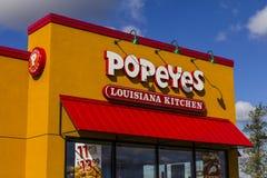 Anderson - circa octubre de 2016: Restaurante de los alimentos de preparación rápida de la cocina de Popeyes Luisiana Popeyes se  fotos de archivo libres de regalías