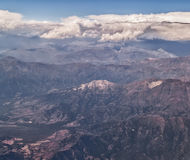 Andes aerial view. View of Andes Mountains form a plane. Border between Chile and Argentina Stock Images