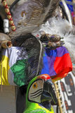 Andes feelings. South American specific colorful arrangements of different objects.Detail of the equipment during a live street Andes music performance Stock Photos