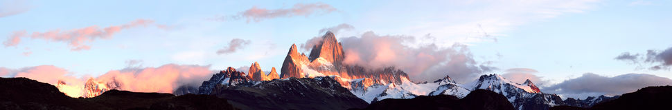 Andes in the fire. Fitz Roy, Patagonia Royalty Free Stock Images