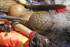 The Andes instruments- maracas. Close-up of maracas a traditional South American instrument. Image of the specific equipment during a street live performance Stock Images