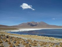 Andes Lake Vista. A long-shot of an Andean lake and mountain range in the Bolivian altiplano with a single cloud overhead Stock Image