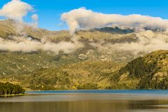 Andes Landscape, Aysen, Chile. Forest and andes mountains landscape scene at carrera lake in chilean patagonian territory royalty free stock images