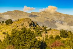 Andes Landscape, Aysen, Chile. Forest and andes mountains landscape scene at chilean patagonian territory royalty free stock images