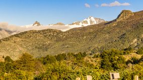 Andes Landscape, Aysen, Chile. Forest and andes mountains landscape scene at chilean patagonian territory royalty free stock photo