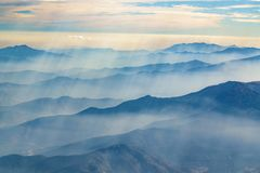 Andes Mountains Aerial View, Chile. Window plane point of view aerial landscape scene from andes range mountains at chilean territory stock photo