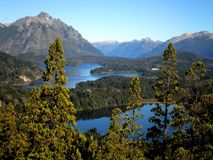 Andes Mountains and Lakes. Outstanding view of lake and mountains in Bariloche, Argentina stock photo