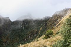 The Andes mountains in mist on the Inca Trail. Peru. South America. No people. royalty free stock images