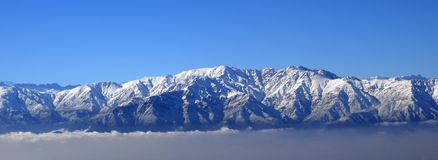 Andes Mountains. Over Santiago Chile stock photography