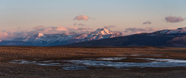 Andes Mountains in Santa Cruz Province bordering Chile. Sunrise over the Andes Mountains in Santa Cruz Province bordering Chile royalty free stock image