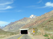 Andes Mountains. A tunnel in crossing the mountain range, towards the chile Royalty Free Stock Photos