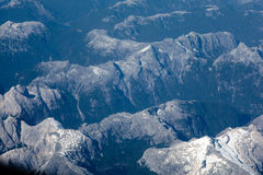 Andes moutain range. Aerial landscape view of the Chilean Andes with light snow covering Stock Image