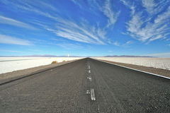 Andes Salt lake road Royalty Free Stock Image