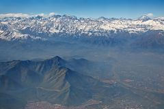 Andes and Santiago with smog, Chile. Aerial view of Andes and Santiago with smog, Chile Stock Photography