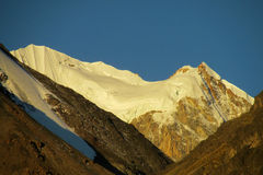 Andes snow covered mountain at sunset light Stock Photos