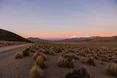 andes solnedgång Parinacota och Pomerade vulkan Royaltyfria Bilder