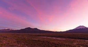 andes solnedgång Parinacota vulkan Högt Andean landskap i Anderna arkivbild