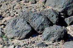 Andesitebasalt på det svarta berget nära Las Vegas, Nevada Arkivfoto