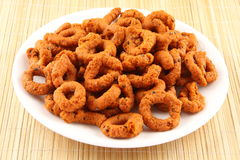 Andhra Murukku, A famous all time snack. Plate of Andhra Murukku, A famous all time snack Royalty Free Stock Photography