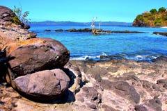 Andilana beach seaweed in indian ocean Stock Image