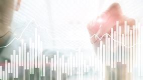 Andle Chart Double exposure Financial graphs and diagrams. Business, economics and investment concept. Double exposure Financial graphs and diagrams. Business royalty free stock photo