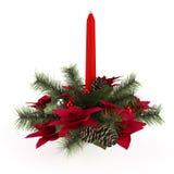 ? andle met Geïsoleerde Kerstmisdecoratie/ Stock Afbeeldingen