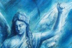 Andlig ängelmålning på kanfas med blått gör sammandrag bakgrund royaltyfri illustrationer