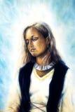 Andlig målning, mellersta kvinna vektor illustrationer