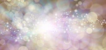 Andligt eteriskt änglalikt stjärnklart blänker bokehbakgrundsbanret royaltyfri illustrationer