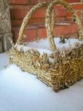 Andmade zimy śnieżyca Pełny śnieżny kosz obraz royalty free