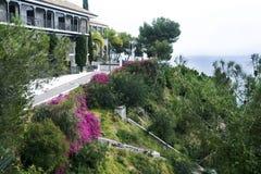 Μάλαγα, Ισπανία, το Φεβρουάριο του 2019 Η όμορφη βίλα ενάντια στο σκηνικό της Μεσογείου είναι βυθισμένα την άνοιξη λουλούδια στοκ εικόνα με δικαίωμα ελεύθερης χρήσης