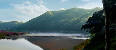 The mountains and river of Andong, South Korea stock image