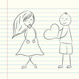 AnDoodle Valentine's day illustration with boy and girl. Vector Stock Photos