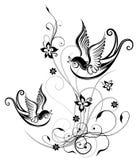 Andorinha, mola, flores Fotografia de Stock Royalty Free