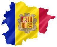 Andorra översikt med flaggan royaltyfria foton