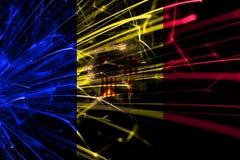 Andorra abstrakcjonistyczni fajerwerki błyska flagę Nowego Roku, bożych narodzeń i święta państwowego pojęcie, ilustracji