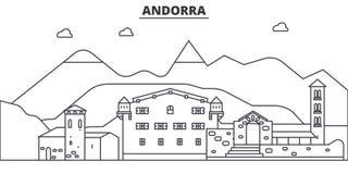Andorra architektury linii linii horyzontu ilustracja Liniowy wektorowy pejzaż miejski z sławnymi punktami zwrotnymi, miasto wido Obrazy Stock