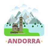 Andorra country badge fridge magnet Flat cartoon s Royalty Free Stock Photography