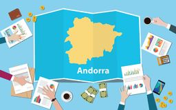 Andorra economy country growth nation team discuss with fold maps view from top. Vector illustration stock illustration