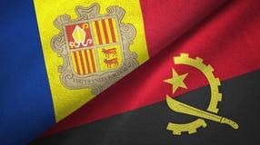 Andorra en Angola twee vlaggen textieldoek, stoffentextuur royalty-vrije illustratie