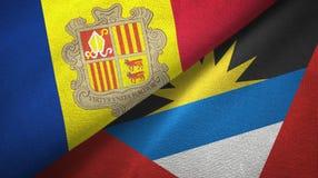 Andorra en Antigua en Barbuda twee vlaggen textieldoek, stoffentextuur royalty-vrije illustratie