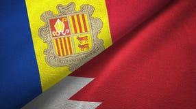 Andorra en Bahrein twee vlaggen textieldoek, stoffentextuur stock illustratie
