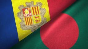 Andorra en Bangladesh twee vlaggen textieldoek, stoffentextuur royalty-vrije illustratie