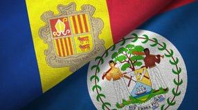 Andorra en Belize twee vlaggen textieldoek, stoffentextuur vector illustratie