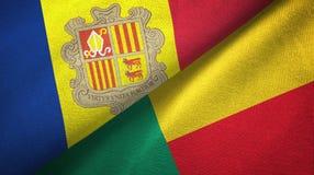 Andorra en Benin twee vlaggen textieldoek, stoffentextuur royalty-vrije illustratie
